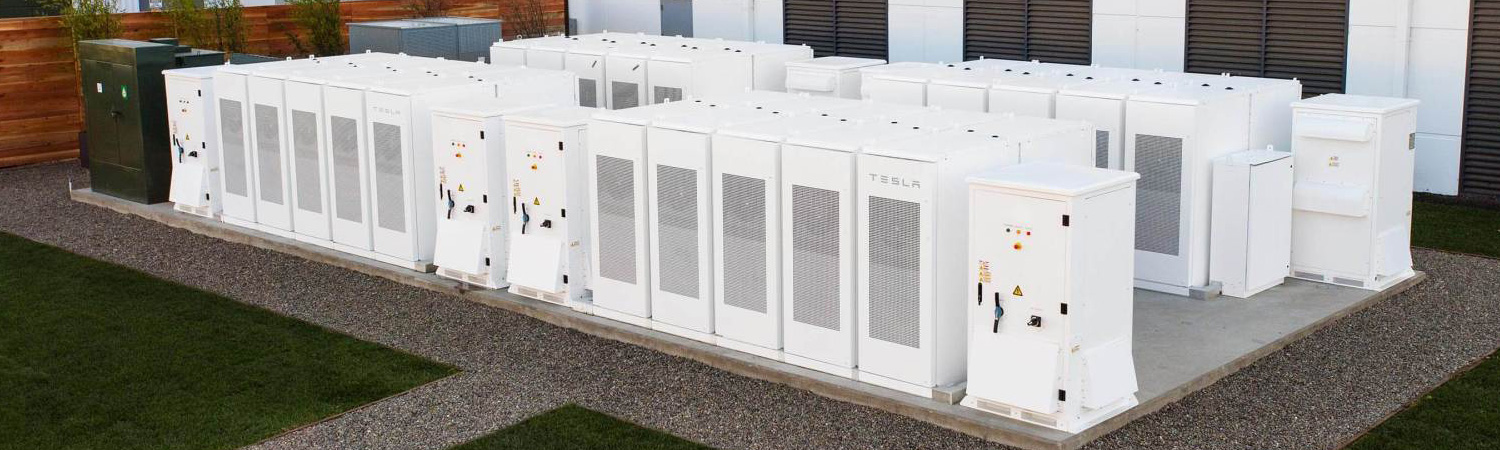 A Tesla commercial battery storage installation for a business client