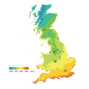 Solar radiation map of the UK